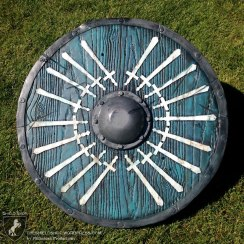 Chaos Wars 18 prize shield. 18 swords in event colors of Ivory, Turquoise, and Silver