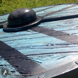"Paint details on ""Vikings"" inspired Lagertha shield."
