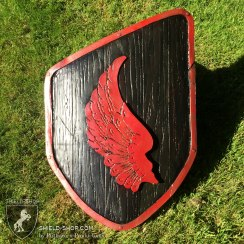 Red-and-Back-Wing-Emblam-Custom-Curved-Sheild-Shop